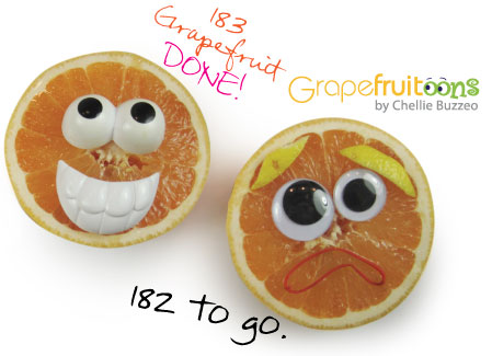 Faces on two grapefruit halves. Part of a year-long challenge on Grapefruitoons by Chellie Buzzeo.