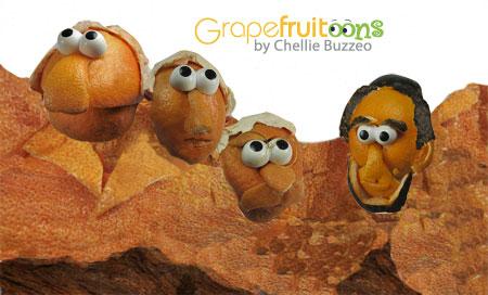 Mount Rushmore grapefruit creation
