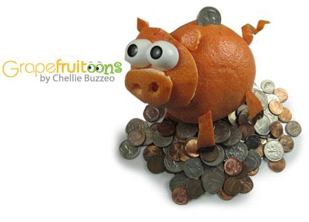 grapefruit piggy bank