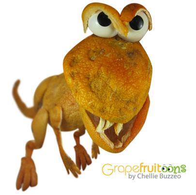 Dinosaur made from grapefruit