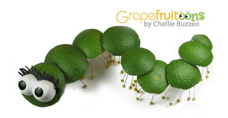 caterpillar made from greengrapefruit