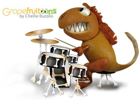 grapefruit dinosaur drummer