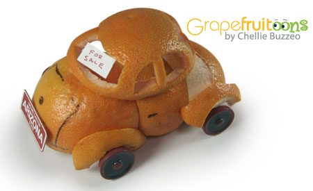 car made from grapefruit