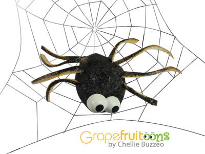 spider made from grapefruit painted black