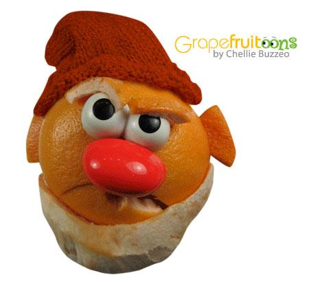Snow White's Grumpy dwarf made from grapefruit
