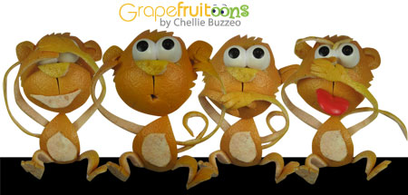 see no evil, hear no evil, speak no evil, smell no evil monkeys made from grapefruit