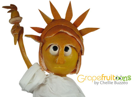 Statue of Liberty made from grapefruit